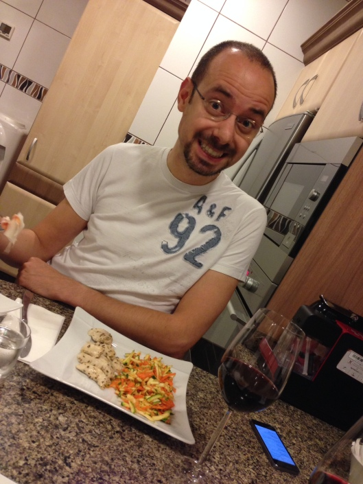 Oreste eating roasted chicken and his most favourite salad :)